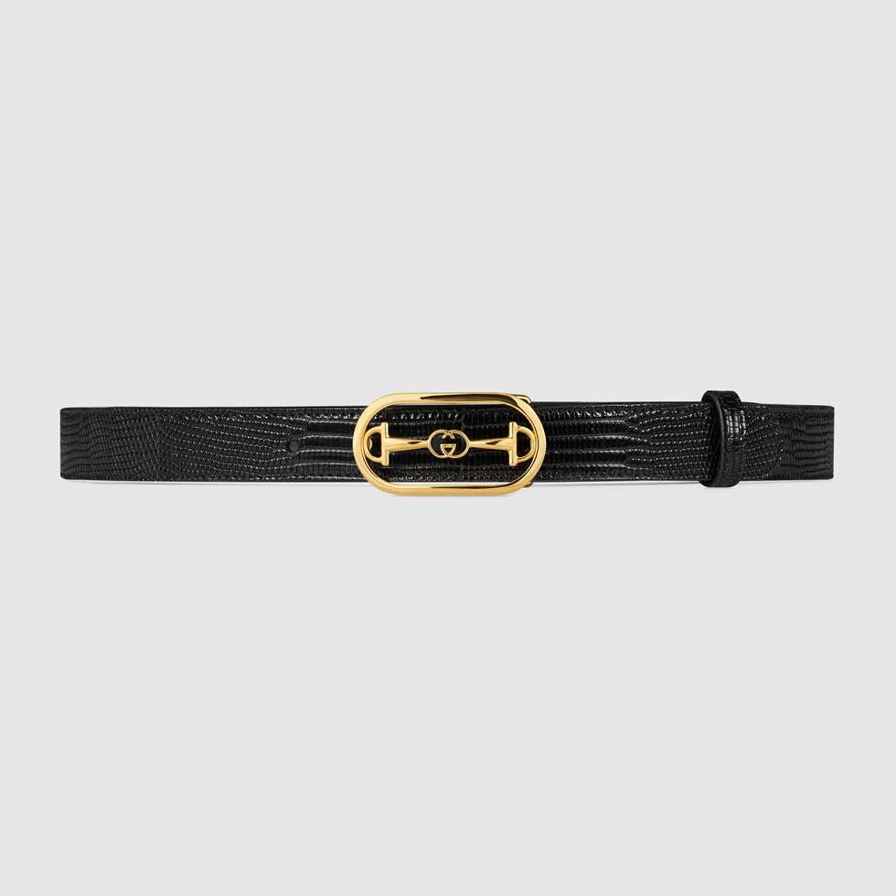 Lizard belt with Interlocking G Horsebit buckle