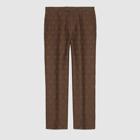 GG stripe wool silk tailored pant