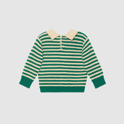 Baby striped wool jumper with Gucci chick