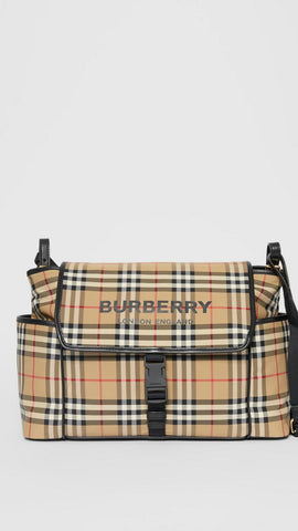 Logo Print Vintage Check Baby Changing Bag