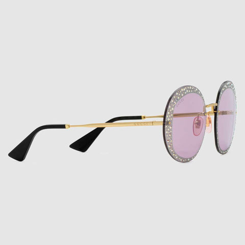 Round-frame sunglasses with crystals