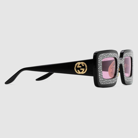 Rectangular-frame sunglasses with crystals
