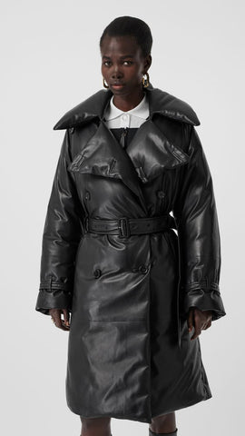 Lambskin Down-filled Oversized Trench Coat
