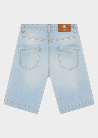 YOUNG VERSACE 90S VINTAGE LOGO DENIM SHORTS