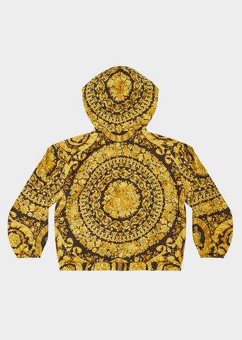 YOUNG VERSACE BAROCCO PRINT HOODED JACKET