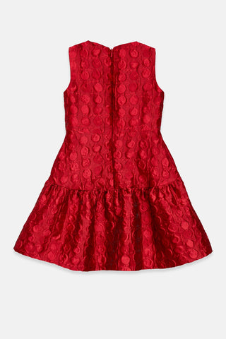 RUFFLED BROCADE DRESS