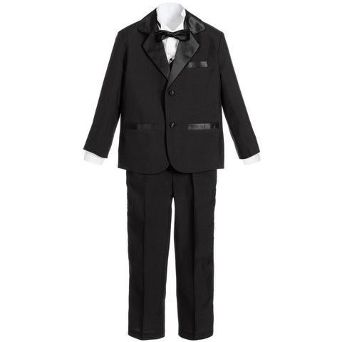 Boys Black 5 Piece Special Occasion Tuxedo Suit