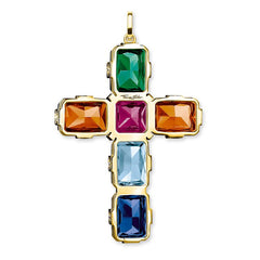 PENDANT CROSS COLOURFUL STONES, GOLD, LARGE - Salon3o, Kooperativa GO-RE z.b.o., Tupaliče 15, 4205 Preddvor,Slovenia,Europe.All rights reserved.
