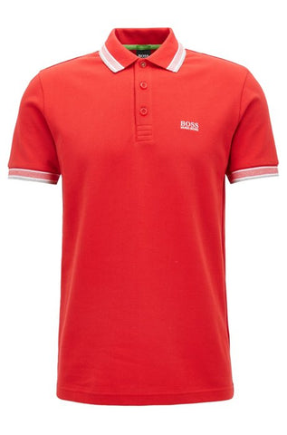 Regular fit red polo shirt with 3 button fastening