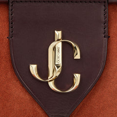 VARENNE BOWLING S  Rust Suede and Aubergine Vacchetta Bowling Bag with JC logo - Salon3o, Kooperativa GO-RE z.b.o., Tupaliče 15, 4205 Preddvor,Slovenia,Europe.All rights reserved.