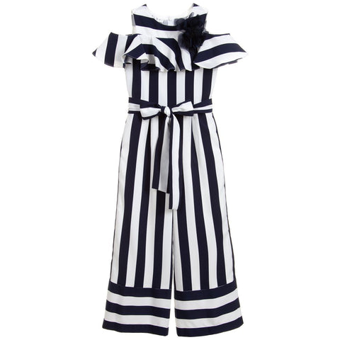 Elsy Girls Blue Striped Jumpsuit