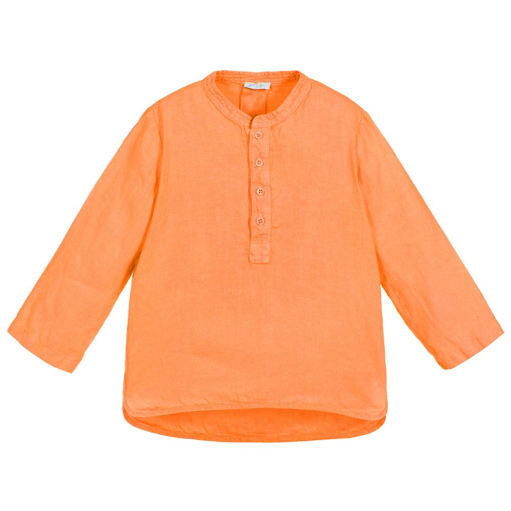 Il Gufo Boys Orange Linen Shirt - Salon3o, Kooperativa GO-RE z.b.o., Tupaliče 15, 4205 Preddvor,Slovenia,Europe.All rights reserved.