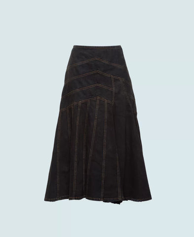 MIU MIU Top-Stitched denim skirt