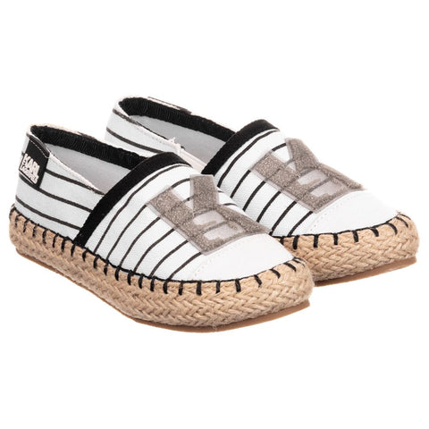 Girls White Canvas Espadrilles