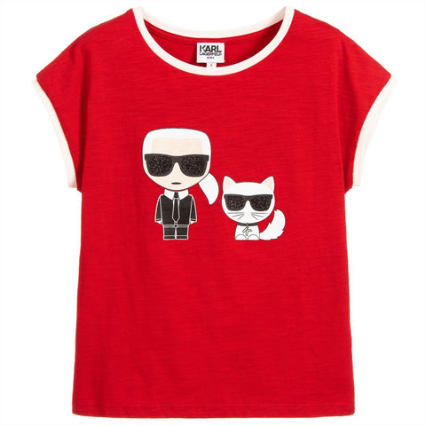 Girls Red Cotton T-Shirt