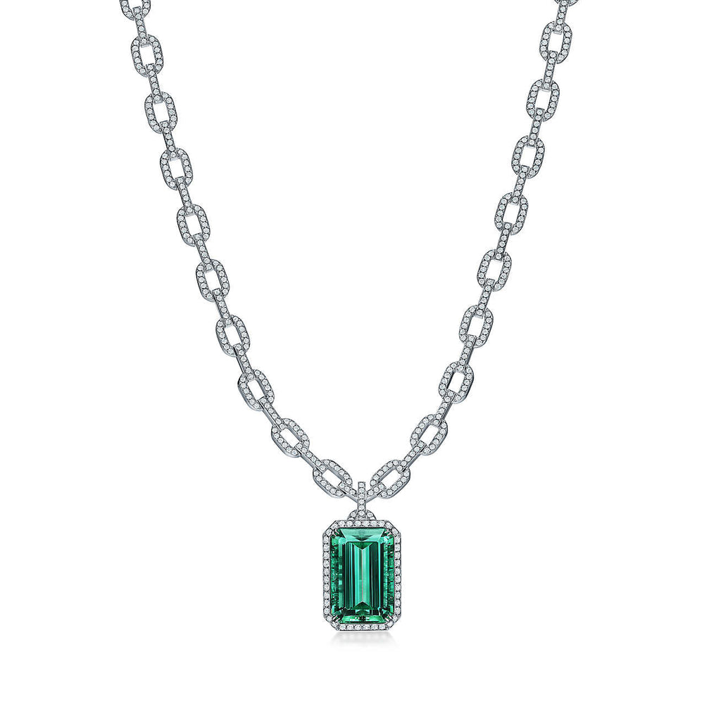 Green Tourmaline and Diamond Pendant in Platinum