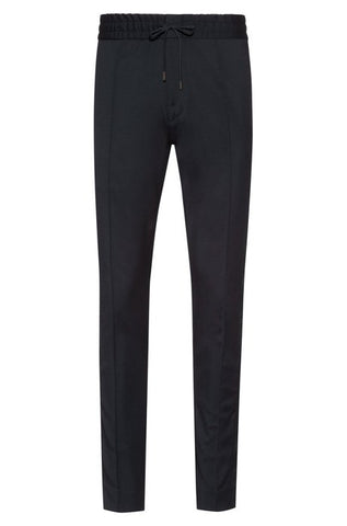 Virgin wool trousers with tapered fit and designer ribbon