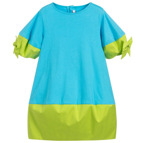 Il Gufo Blue & Green Cotton Dress