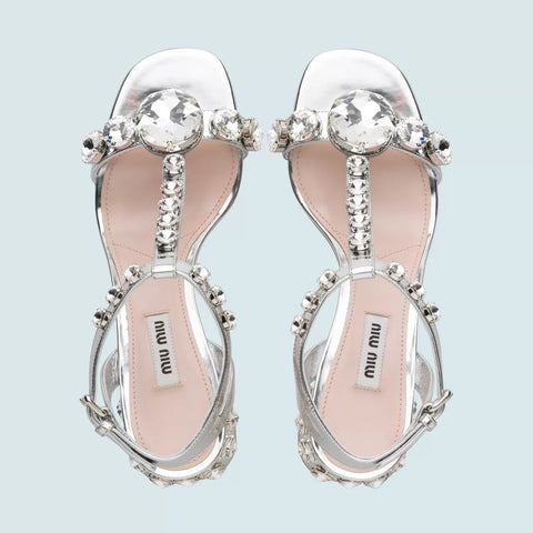 MIU MIU Embellished leather sandals