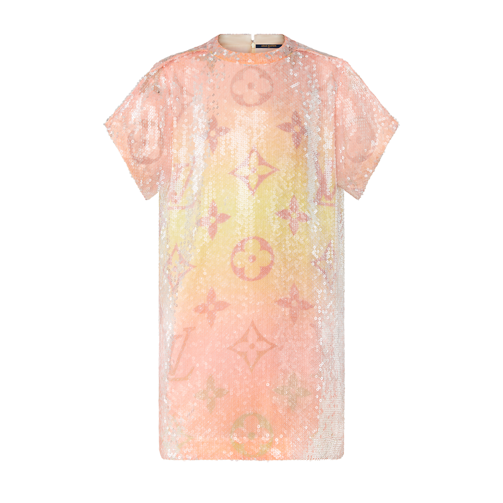 MONOGRAM SUNRISE EMBROIDERED SEQUIN T-SHIRT DRESS