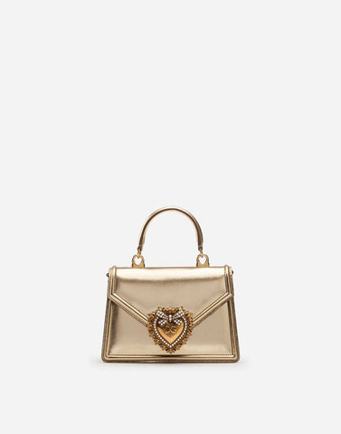 DOLCE & GABBANA Gold devotion bag in mordore matelassé nappa