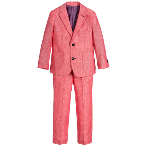 Boys Red Viscose 2 Piece Suit