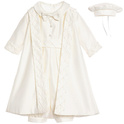 Boys Ivory Satin 3-Piece Occasion Outfit