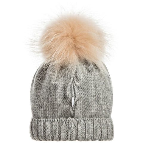 TRESTELLE Girls Grey Pom-Pom Hat