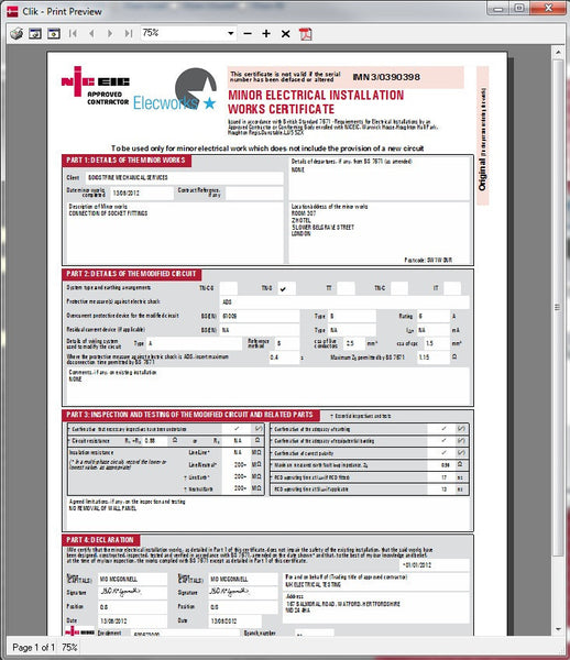 Electrical certification software niceic certification for Minor electrical installation works certificate template