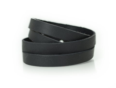 Leather Split Wristband Black