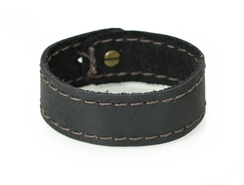 Stitched Leather Wristband Black
