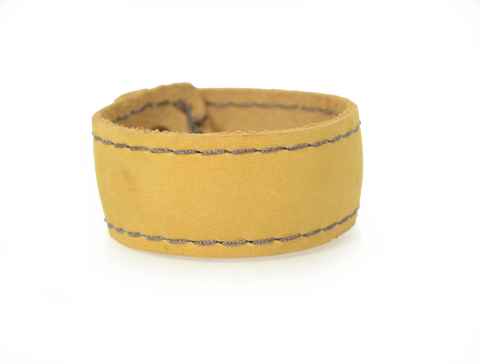 Stitched Leather Wristband Buckskin