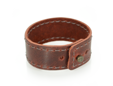 Stitched Leather Wristband Burgundy