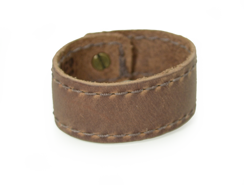 Stitched Leather Wristband Dark Brown