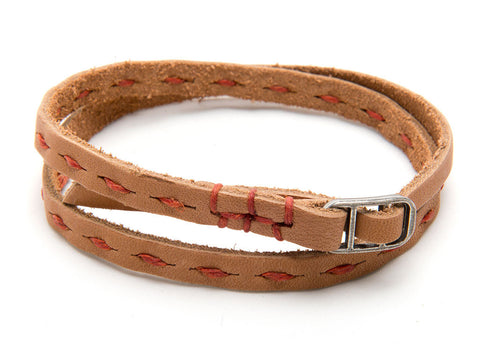 Robert Mason by Rustico Skinny Leather Dash Wristband with Orange Stitch