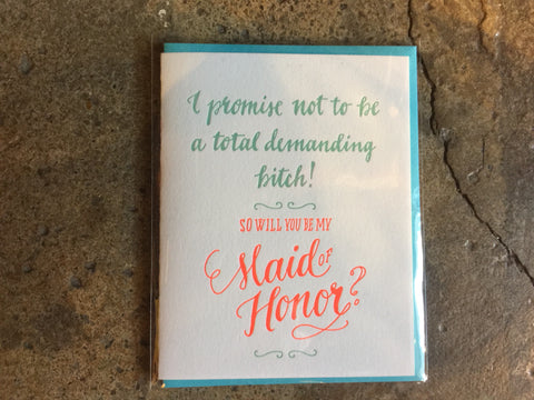Maid of Honor by Ladyfingers Letterpress