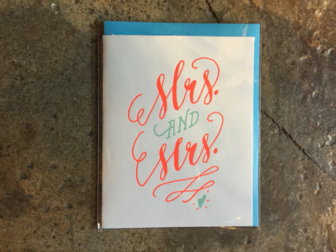 Mrs and Mrs by Ladyfingers Letterpress
