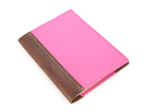 Wood + Leather Comp Book Large Pink
