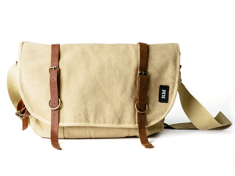 Canvas + Leather Messenger Bag