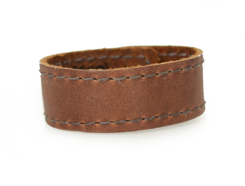 Stitched Leather Wristband Saddle