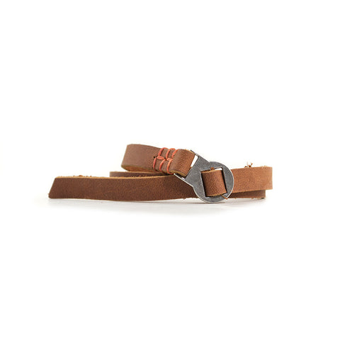 Robert Mason by Rustico Leather Wristwear Large Threaded with Orange Stitch