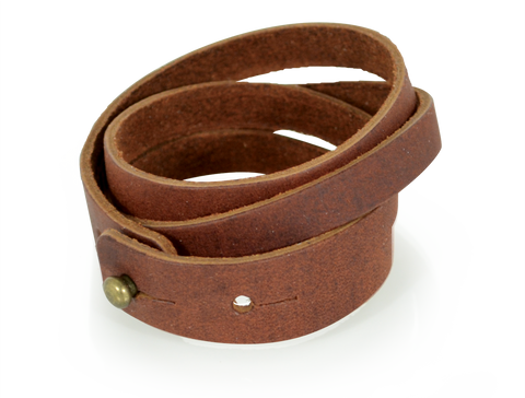 Leather Split Wristband Saddle