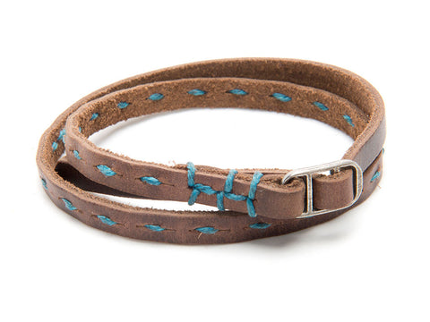 Robert Mason by Rustico Skinny Leather Dash Wristband with Teal Stitch
