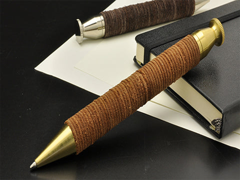 King Cuio Ballpoint Pen - Mocha Leather & Nickel by E+M | Robert Mason Co.