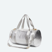 metallic duffle bag