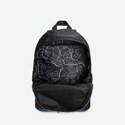 black and navy backpack
