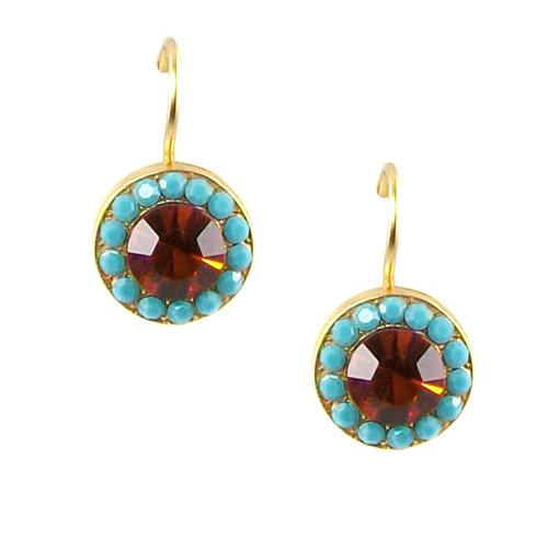Mariana Yellow Gold Plated Petite Round Swarovski Crystal Drop Earrings (Rising Sun) - 1129 1317