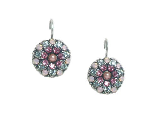 "Mariana ""Rose"" Antique Silver Plated Flower Drop Earrings with Swarovski Crys..."