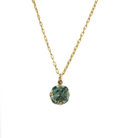 Catherine Popesco Gold Plated Ice Blue Swarovski Crystal Drop Pendant Necklace, 16+2