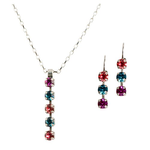 Mariana Antique Silver Plated Swarovski Crystal Pendant Necklace and Earrings Set (Sorbet)